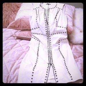 White leather studded bebe dress